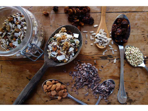 Dr Gaye Super-Spoonful - superfood trail mix - natural raw organic - spoons with seeds, wooden table