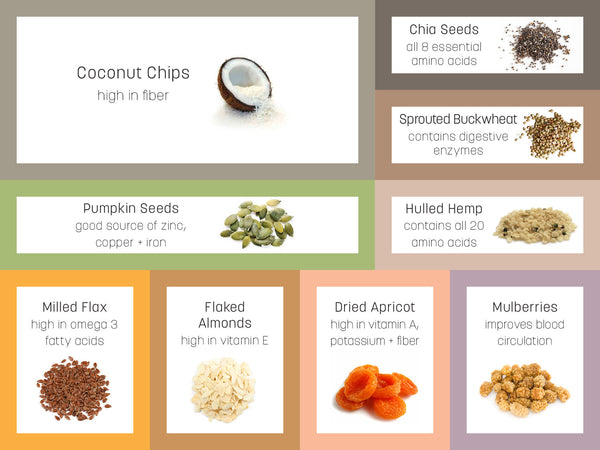 Infographic for Dr Gaye Super-Cereal - superfood grain free gluten free cereal - health food products - natural raw organic