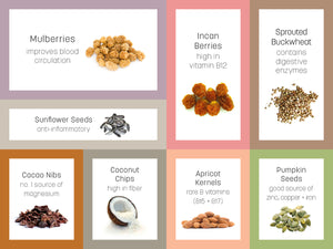 Infographic for Dr Gaye Super-Spoonful - superfood trail mix - natural raw organic