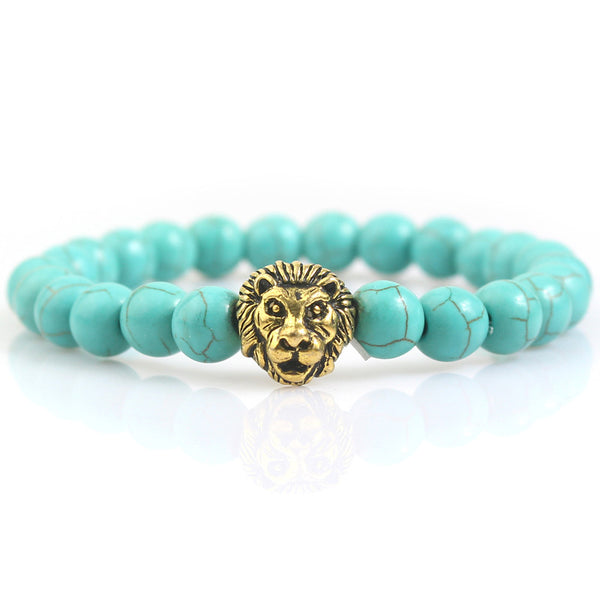 Gold Plated Lion Head Blue Lava Rock Mens Bracelet