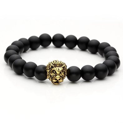 Gold Plated Lion Head Lava Rock Mens Bracelet