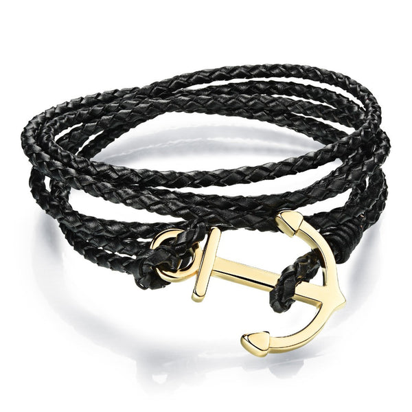 Genuine Leather Gold Plated Anchor Bracelet