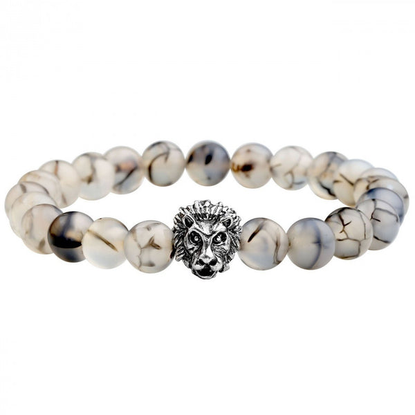Silver Plated Lion Head Lava Rock Mens Bracelet