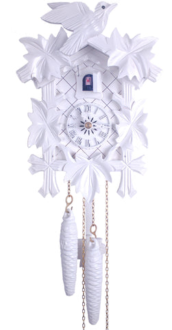 1 Day Traditional Carved White Cuckoo Clock 11-09W