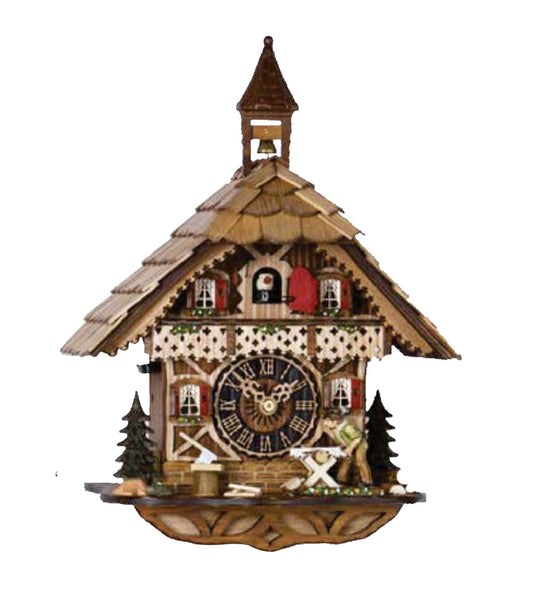Hones 1 Day Chalet Cuckoo Clock featuring Carpenter Sawing Wood 1258