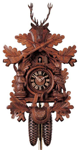 "Hones 19.5"" 1 Day Carved Cuckoo Clock Hunting Style 134/4"