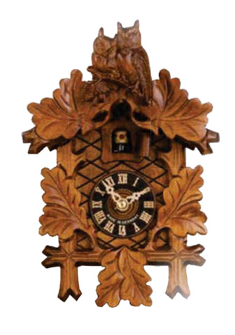 "Hones 9"" 1 Day carved cuckoo clock with Owls 142"