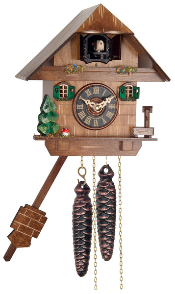 One Day Chalet Cuckoo Clock with Mushroom and Water Pump 38-06