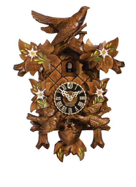 Hones 1 day carved cuckoo clock with Birds 4700/3ED