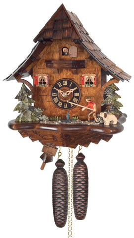Engstler 8 Day Chalet Fisherman Cuckoo Clock 804-14
