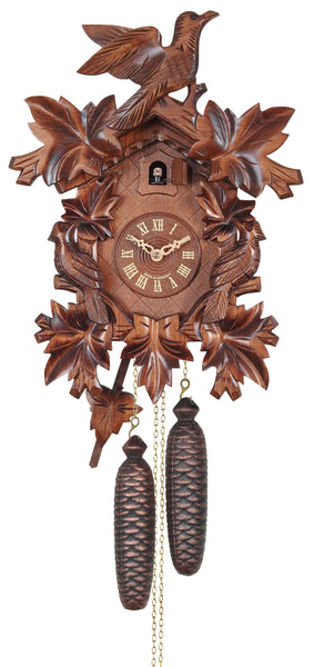 Engstler 8 Day Carved Cuckoo Clock Bird and Leaf 833-16