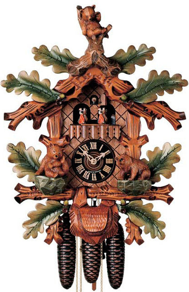 "Hones 20"" 8 Day Carved Music 8607/5TBU Cuckoo Clock"