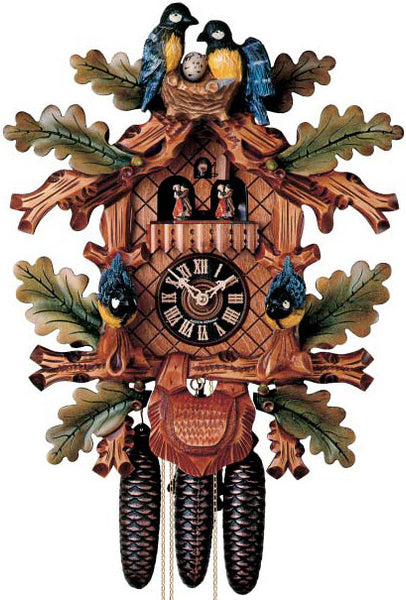 "Hones 20"" 8 Day Carved Music 8609/5TBU Cuckoo Clock"