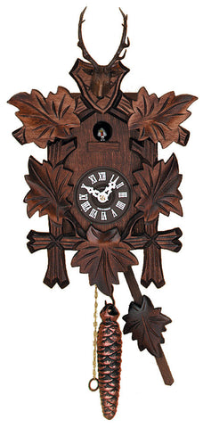 Engstler 1 Day Cuckoo Clock with Five Leaves and Deer 991-11