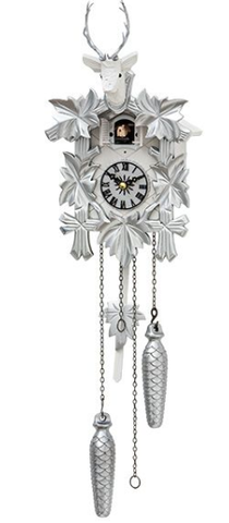 Silver and White Hunter Cuckoo Clock 19-12QM