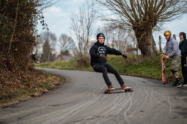 Jonas van Gucht sliding on the FiveO 64mm Classics skateboard wheels