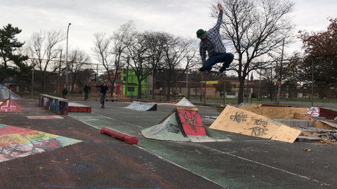 Kyle riding a Bustin Street Deck in Syracuse DIY