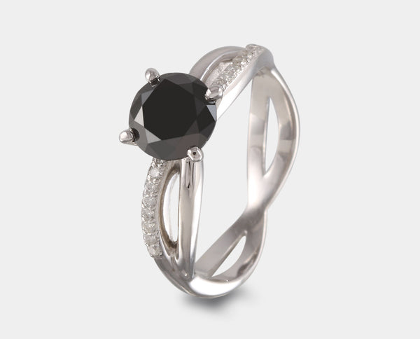 ANILLO ORO BLANCO CON DIAMANTE NEGRO AH2-PC61B-DMN