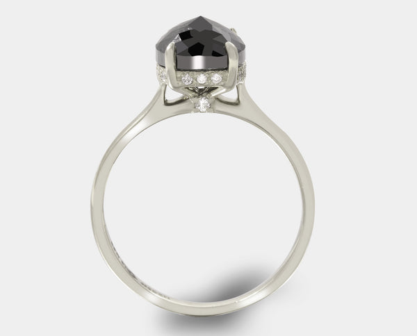 ANILLO ORO BLANCO CON DIAMANTE NEGRO AH2-PC73B-DMN