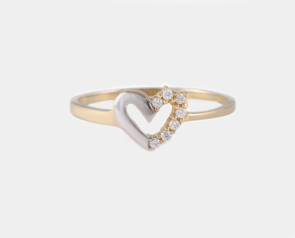 ANILLO ORO COMBINADO CORAZON  AM2B-11420