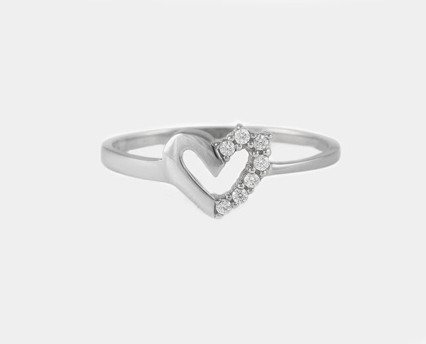 ANILLO ORO BLANCO CORAZON AM2B-12420