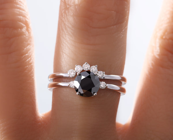 ANILLO DUO DIAMANTE NEGRO Y ENSAMBLE CORONA AH2-PC70Y69B-DMN