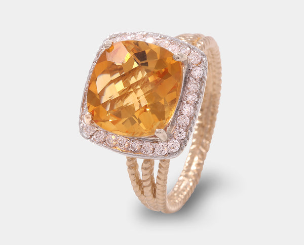 ANILLO ORO AMARILLO CON CITRINA Y DIAMANTE AH2-PC66A-CT