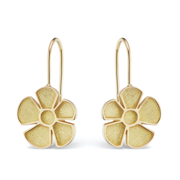 ALESSIA SMALL SATIN DROP EARRINGS - 18K YELLOW GOLD