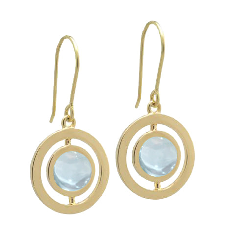 ANELLO EARRINGS with AQUAMARINE -18K YELLOW GOLD