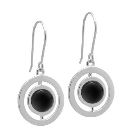 ANELLO EARRINGS with BLACK AGATE - 18K WHITE GOLD