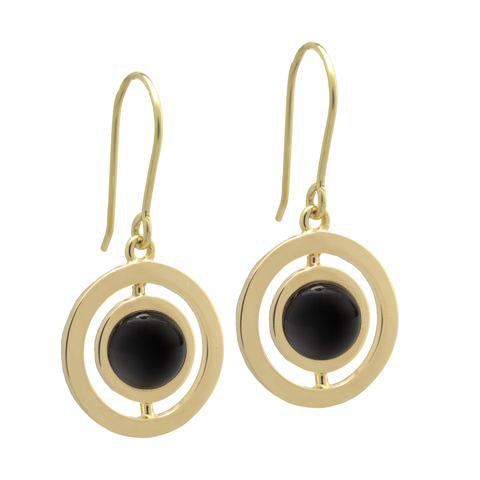 ANELLO EARRINGS with BLACK AGATE -18K YELLOW GOLD