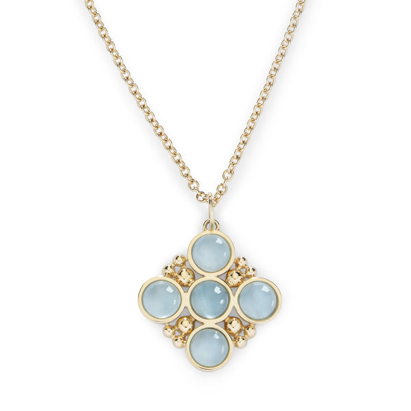 BUBBLES CLASSIC CHAIN NECKLACE with AQUAMARINE - 18K YELLOW GOLD