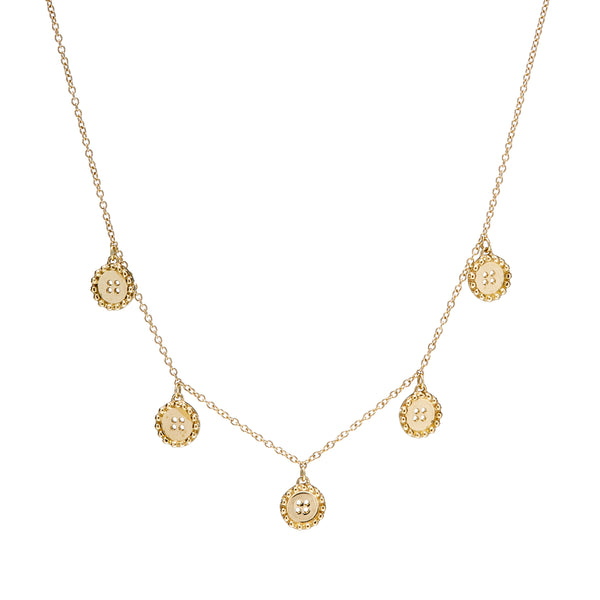 BUTTON MINI BRILLIANT CHAIN NECKLACE - 18K YELLOW GOLD