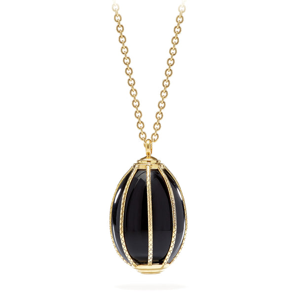 CAGE BLACK OBSIDIAN PENDANT - 18K YELLOW GOLD