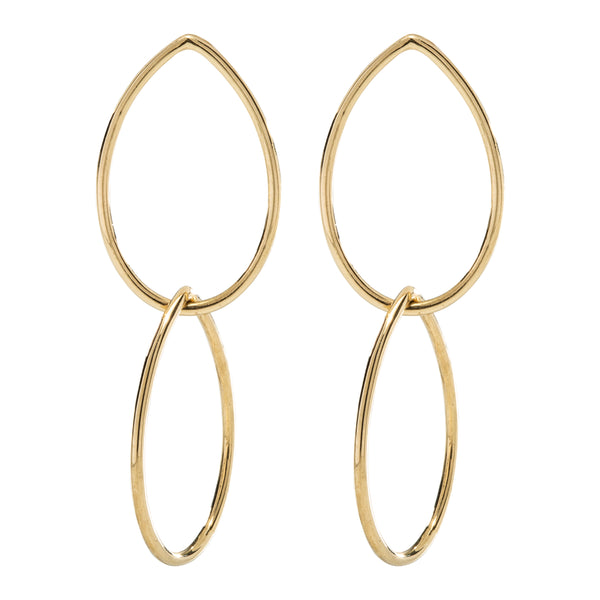 TEARDROP DOUBLE EARRINGS - 18K YELLOW GOLD