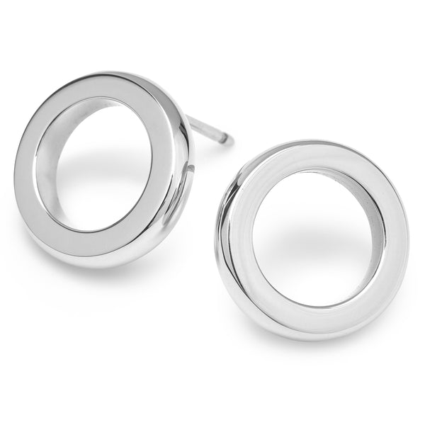 DUETTO BUTTON EARRINGS - 18K WHITE GOLD