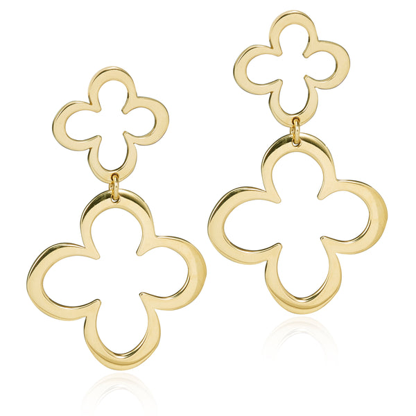 FIORE DOUBLE EARRINGS - 18K YELLOW GOLD