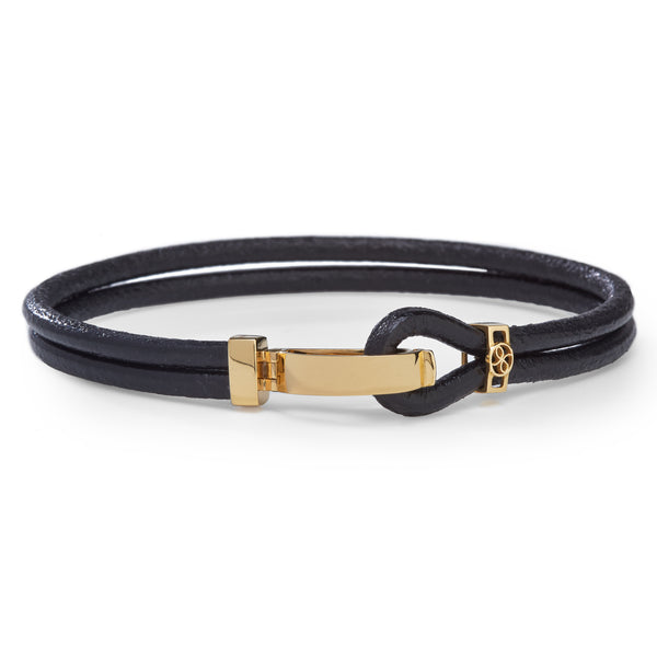 LEATHER BRACELET with 18K YELLOW GOLD CLASP