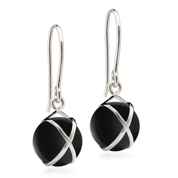 PRISMA BLACK AGATE SMALL EARRINGS - 18K WHITE GOLD