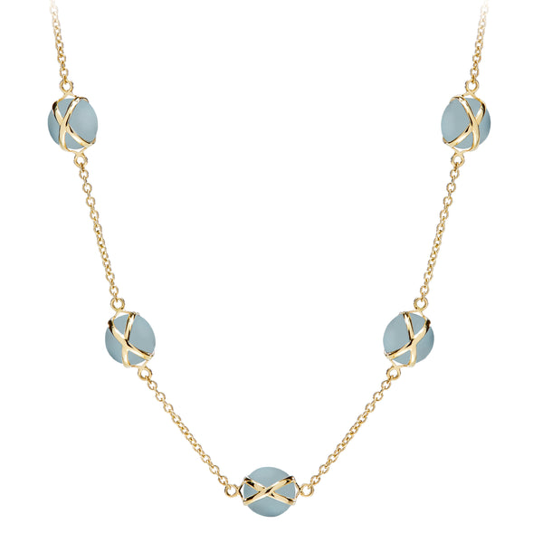 "PRISMA AQUAMARINE 10MM 16-18"" CLASSIC CHAIN NECKLACE - 18K YELLOW GOLD"