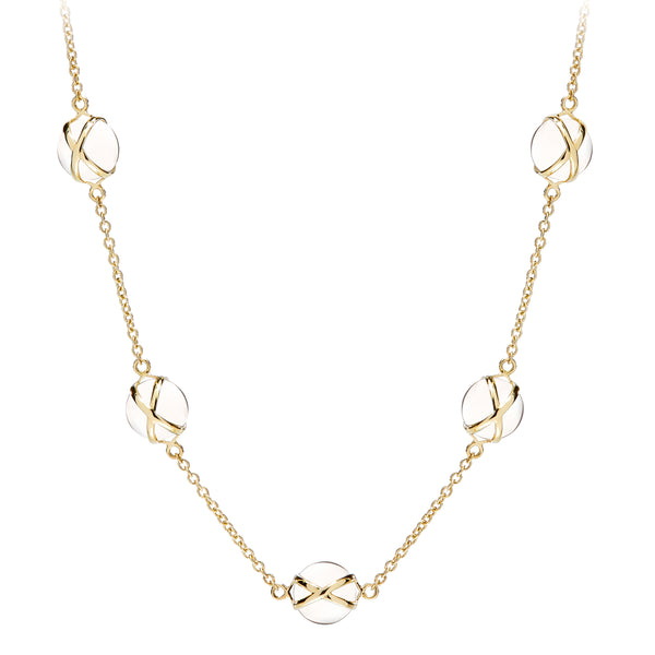 "PRISMA CRYSTAL QUARTZ SMALL 16-18"" NECKLACE - 18K YELLOW GOLD"