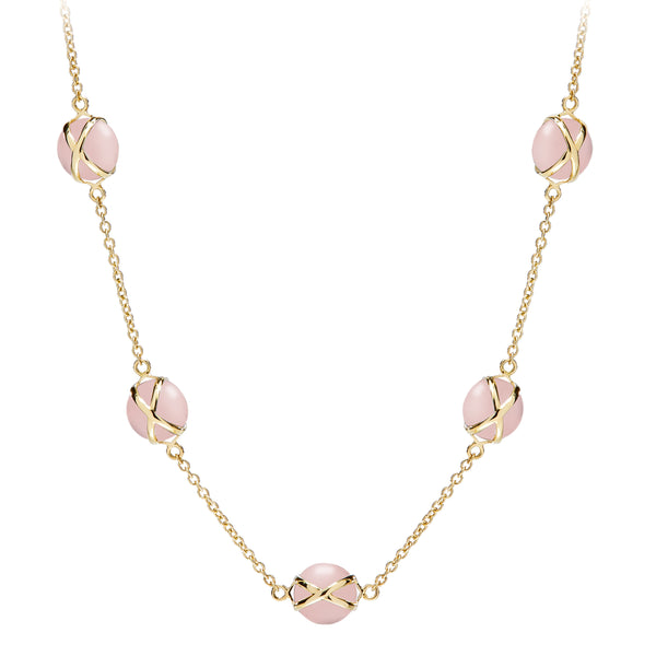 "PRISMA ROSE QUARTZ 10MM 16-18"" CLASSIC CHAIN NECKLACE - 18K YELLOW GOLD"