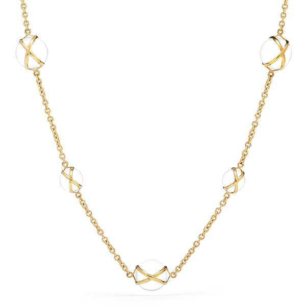 "PRISMA CRYSTAL QUARTZ 16"" -18"" LUXE CHAIN NECKLACE - 18K YELLOW GOLD"