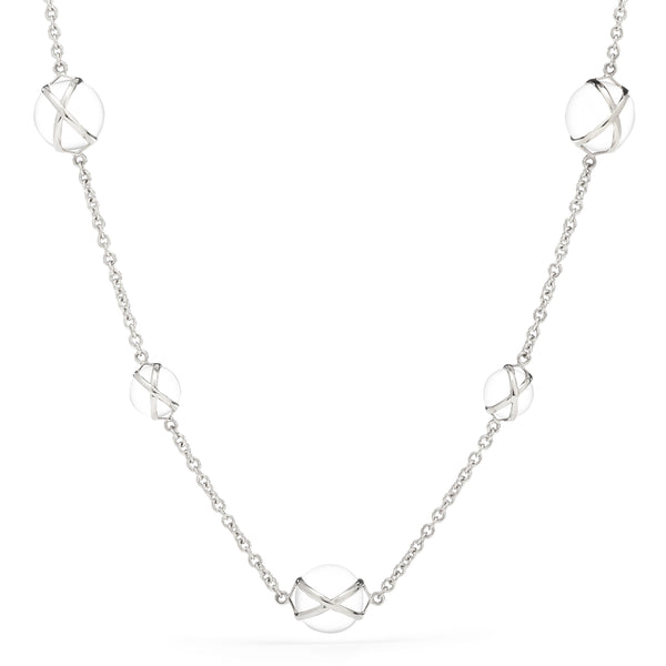 "PRISMA CRYSTAL QUARTZ 16"" -18"" NECKLACE - 18K WHITE GOLD"