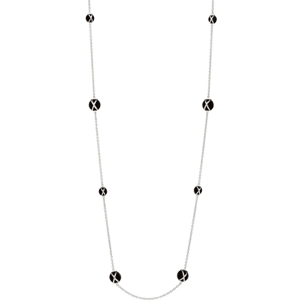 "PRISMA BLACK AGATE 37"" NECKLACE - 18K WHITE GOLD"