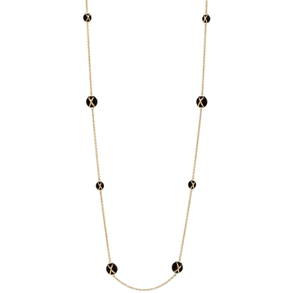 "PRISMA BLACK AGATE 37"" NECKLACE - 18K YELLOW GOLD"
