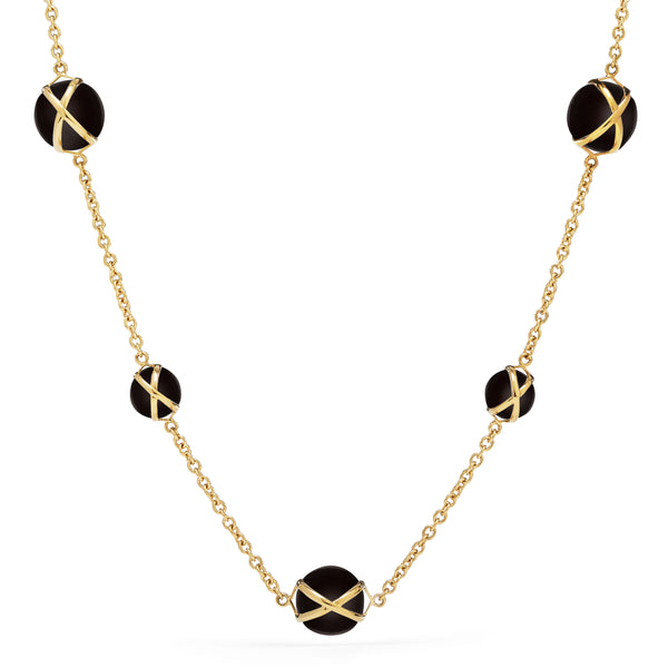 "PRISMA BLACK AGATE 16"" -18"" NECKLACE - 18K YELLOW GOLD"