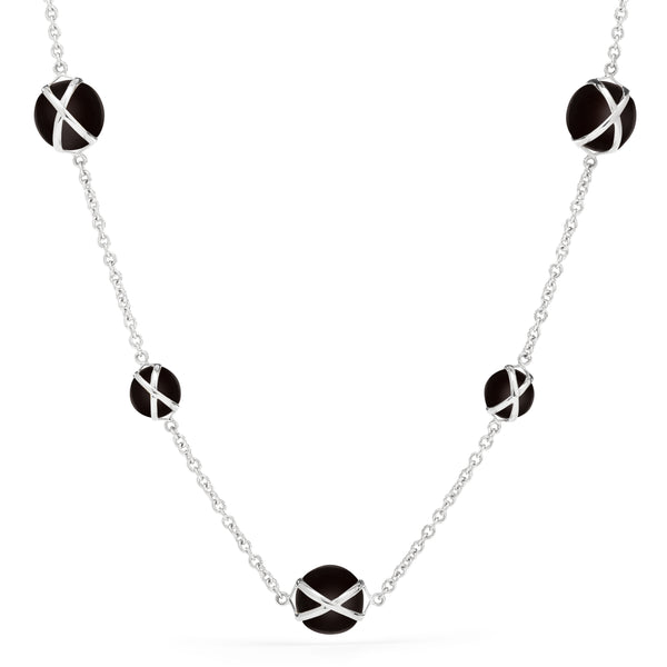 "PRISMA BLACK AGATE 16"" -18"" NECKLACE - 18K WHITE GOLD"