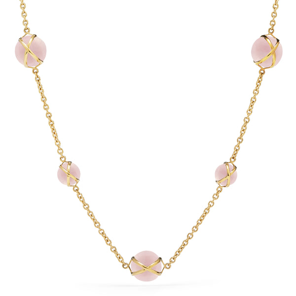 "PRISMA ROSE QUARTZ 16"" -18"" NECKLACE - 18K YELLOW GOLD"