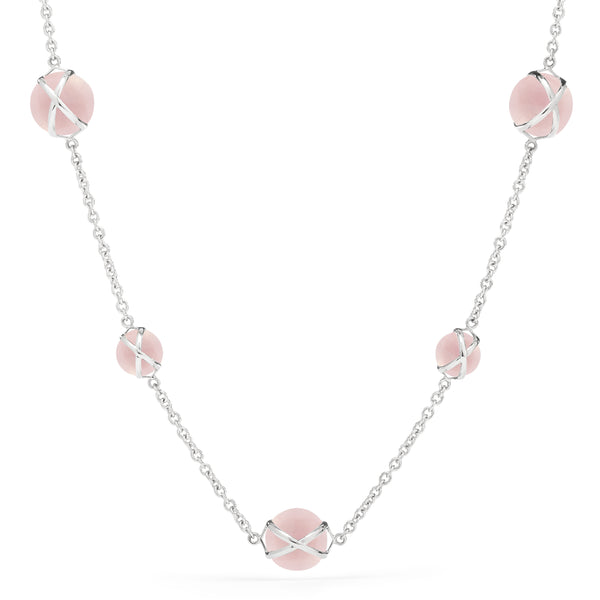 "PRISMA ROSE QUARTZ 16"" -18"" NECKLACE - 18K WHITE GOLD"